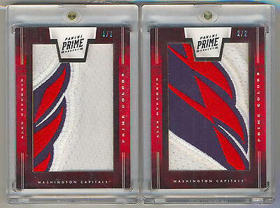 2011-12 Panini Prime Colors ALEX OVECHKIN Game Used Jersey Logo Patch 1/2 & 2/2