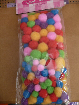 Pom Poms  140 Pieces per pkt  - Mixed bright colours