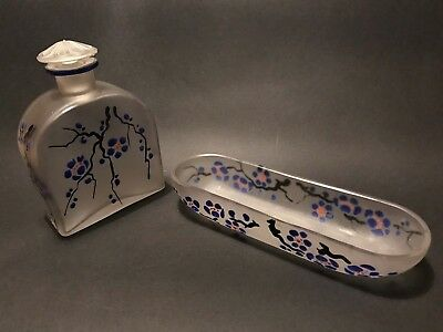 20s ART DECO FRENCH SCENT PERFUME BOTTLE  DISH SIGNED ALIX ENAMEL FROSTED GLASS