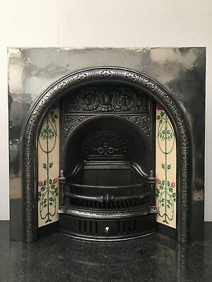 Restored Antique Victorian Style Cast Iron Arched Tiled Insert Fireplace (QP127)