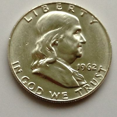 1962 D Benjamin Franklin Silver Half Dollar United States Coin Liberty Bell UNC