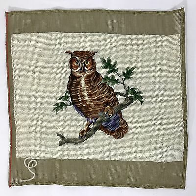 Vtg OWL Needlepoint Petit Point for Picture Stool Pillow Finished Completed Wise
