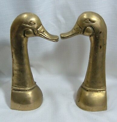 "Vintage Brass Duck Goose Head Bookends 9"" Heavy Patina Old Rare"