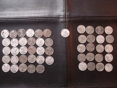 1943 Mixed Mints Lincoln Steel Wheat Cent Penny Roll (50 Coins)