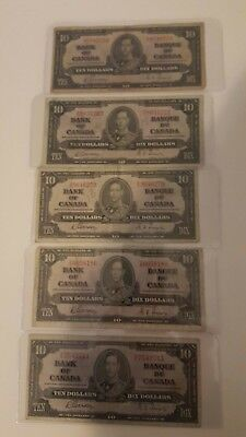 Bank Of Canada 1937- 5  - $10 Bank Notes Selling 1 Note For $17.