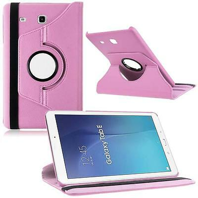 """Hot 360 Rotated PU Leather Smart Case for 9.6"""" Samsung Galaxy Tab E T560 Pink ZH"""