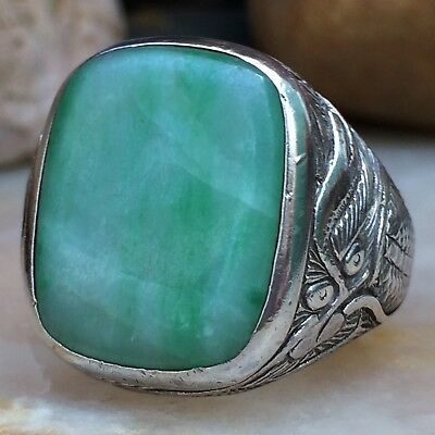 Antique Large Oriental Chinese Silver And Jade Double Dragon Ring Sz 10 Wow
