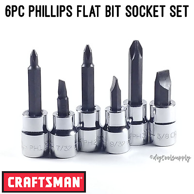 "NEW Craftsman Screwdriver Bit Socket Set Phillips Flat 3/8"" Drive 6pc P1 P2 P3"