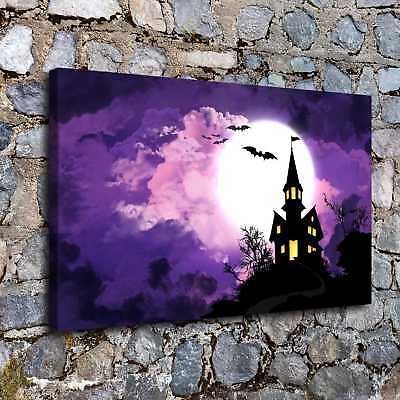 "12""x20""Halloween Castle HD Canvas print Painting Home Decor Picture Wall art"