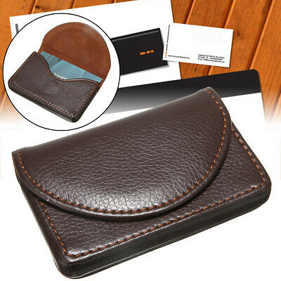 Brown Mini Leather Pocket Credit Card Business ID Cards Holder Case Wallets