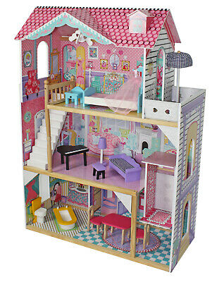 Ava Wooden Doll House with Elevator Furniture Kids Toy Pretend Play Barbie