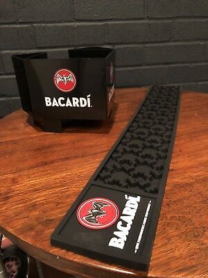 Bacardi Rum Bar Set Drink Rail Mat with Napkin & Straw Caddy