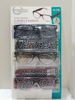 115a3ff671 Design Optics Foster Grant Full Frame Ladies Fashion +1.75 Reading Glasses  3Pk
