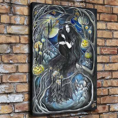"""12""""x16""""Witch Cat HD Canvas print Painting Home Decor Room Wall art Poster 09617"""