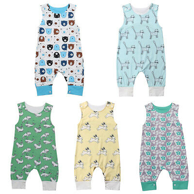 Kids Infant Baby Girl Boy Animal Romper Jumpsuit Bodysuit Outfit Trousers Summer