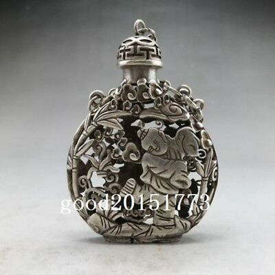 Ancient Chinese Tibetan silver snuff bottle hand-carved Guanyin pattern