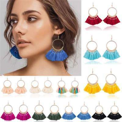 Fashion Women's Round Circle Tassel Drop Earrings Boho Bohemian Fringe Earrings