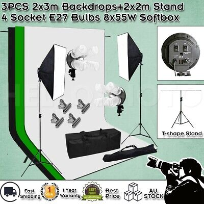 Studio Continuous Lighting Softbox Photography Backdrop Soft Box Light Stand Kit