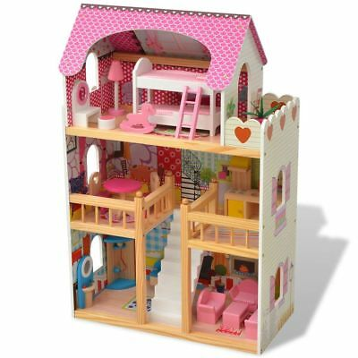 Kids Wooden Dollhouse 3 Storey With 18 PCS Mini Furnitures Couture Dolls House