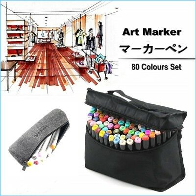 Marker Set 80 Colors Artist Paint Pen Twin Dual Tip Copic Sketch Highlights