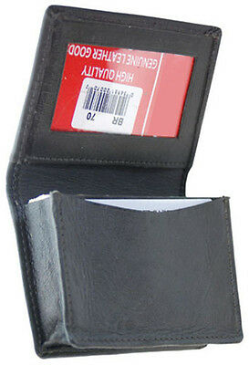 Black CREDIT business Card Pocket Window ID Leather Men Expandable Wallet Holder