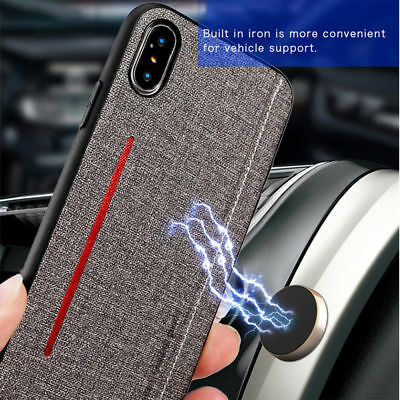 For iPhone XR XS Max 7 Plus Magnetic PU Cloth Ultra Slim Hard PC Skin Case Cover