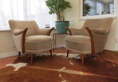 Pair Of Vintage German Armchairs Cocktail Chairs With Arms Mid Century Jan19-2