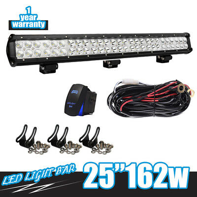 Slim 162W 25inch Led Light Bar Spot Flood Combo For Offroad Jeep Boat CAR SUV 24