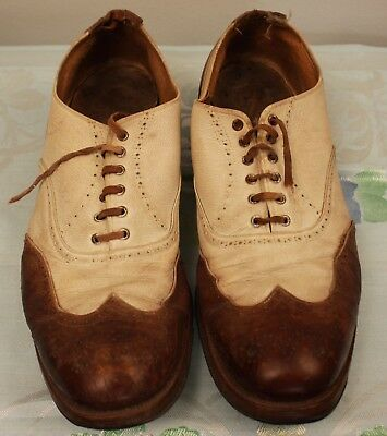 ORIGINAL VINTAGE 1940s MENS ALL LEATHER SHOES. AS IS.