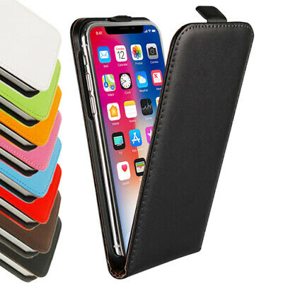 iPhone XS MAX XR X 8 7 6s Plus -Genuine Leather Flip Case Cover for Apple