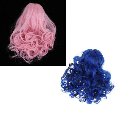 2pcs Wave Curly Hair Wigs Pink/Blue for 18inch American Girl Doll DIY Making