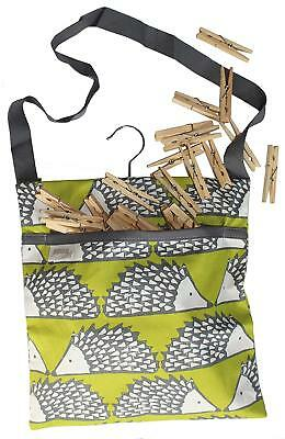 Spike the Hedgehog Print Wipe Clean Cotton Peg Bag With Hanging Hook & 40 Pegs