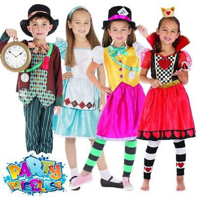 Kids Alice Costume Girls Boys Mad Hatter Queen Of Hearts Fancy Dress Book Day