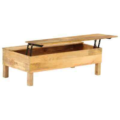 Retro Coffee Table Lift Up Top Solid Mango Wood with Storage Box Side End Desk