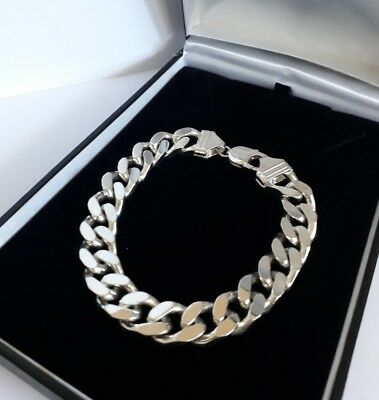 """Solid SILVER 925 flat CURB style chain BRACELET 63.5g heavy 11mm wide link 9.25"""""""