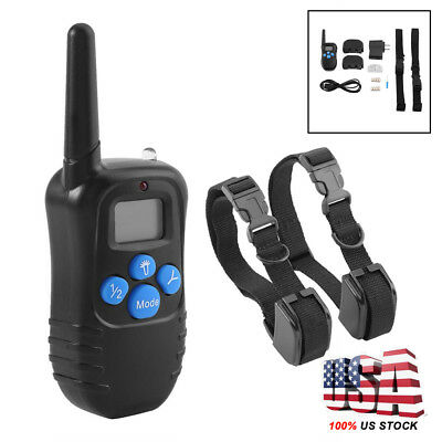 Electric Remote Dog Training Collar 330Yard Rechargeable Shock Collar For 2 Dogs