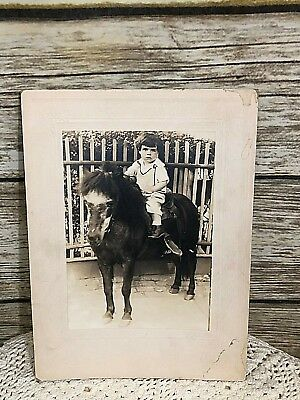 Vintage Cabinet Sepia Photo Photograph Young Boy On Pony