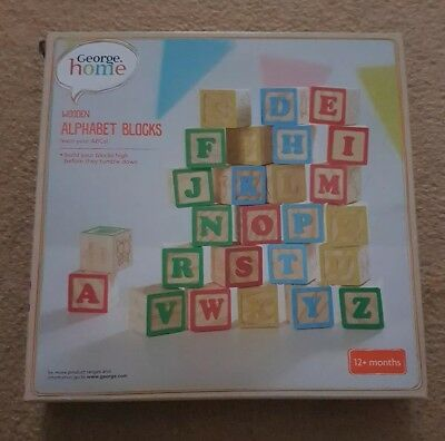 New & boxed. George Home Wooden Alphabet Blocks baby toy. 12+ months. Great gift