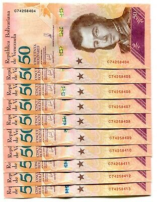 Venezuela 50 Bolivares Soberano 15Jan2018 P-New Unc Lot 10 Pcs