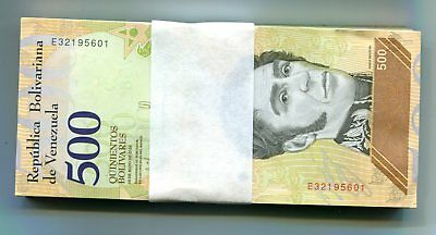 Venezuela 500 Bolivares Soberano 18May2018 P-New Unc Bundle 100 Pcs