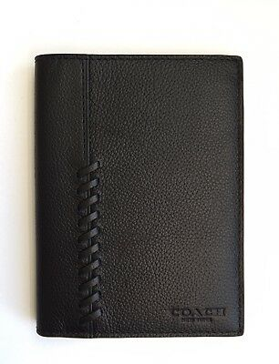 NWT Coach Men's Leather Passport Case Baseball Stitch F22538 + Gift Box RP $150