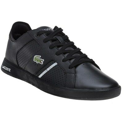New MENS LACOSTE BLACK NOVAS LEATHER Sneakers Court