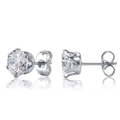 Hypoallergenic 316L Stainless Steel Round Clear CZ Stud Earrings. Gift Bag. USA