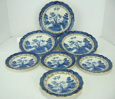 Booths Real Old Willow Blue Gold Trim A8025 3 Luncheon 3 Bread Plate Saucer 7 Pc