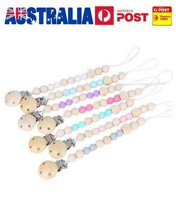 Dummy Clip Holder Pacifier Clips Soother Chains Wooden Bead Baby Teething Toy AU