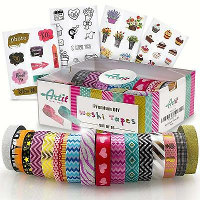 Washi Decorative Tape,Extra Long,16 Pcs & 10 Meter Long - Ideal For Scrapbooking