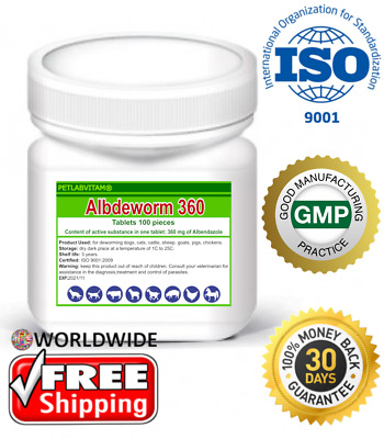 Albdeworm 360® 100 Tablets Albendazole 360mg De-Wormer Dog Cat Animals Treatment