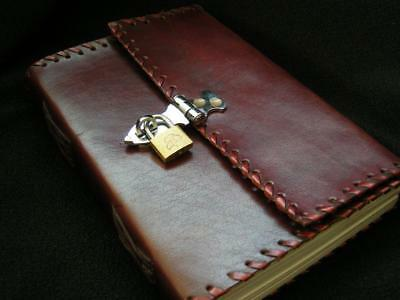 LOCKABLE A5 Leather SECRET DIARY Journal Notebook with  PADLOCK - Unlined Pages