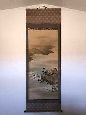 Japanese Scroll Wall Hanging River Scene 25 Inches X 73 Inches