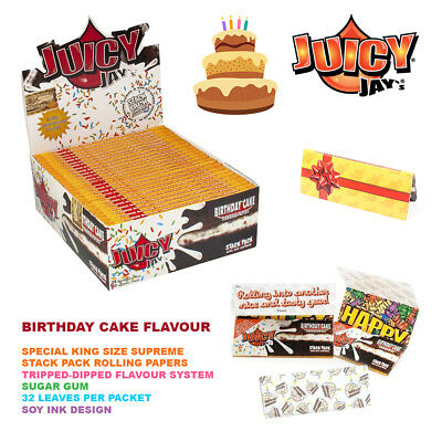 Juicy Jay's / Birthday Cake / King Size Supreme Stack Pack / Rolling Papers Raw